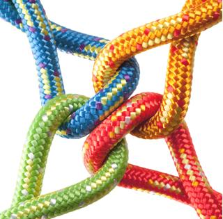 colorful, interlocking rope - blue, yellow, red, green