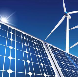 digital illustration of solar panels and wind mills