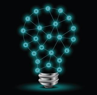 network grid in the shape of a lightbulg