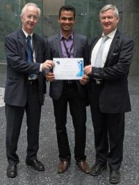 Photo of Dr. Erich Rome (General Chair, CRITIS 2015), Varun Badrinath Krishna, and Dr. Bernhard M. Hämmerli (Chair, CRITIS conference series)