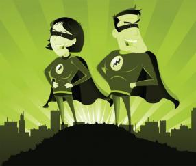 illustration of super heros with lightning bolt on clothing