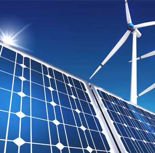 image of solar panels and windmill